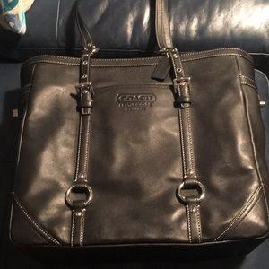 Authentic Black Genuine Leather Coach Tote Bag